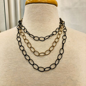 Triple Large Chain Necklace in Gold and Black